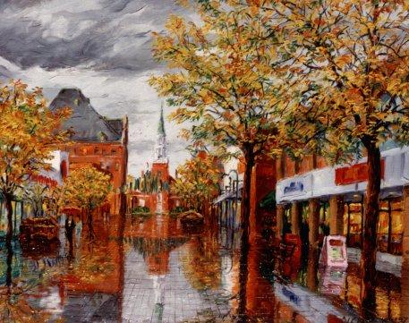 Oil Painting Of Autumn Street, Art Work Stock Illustration - Image ...